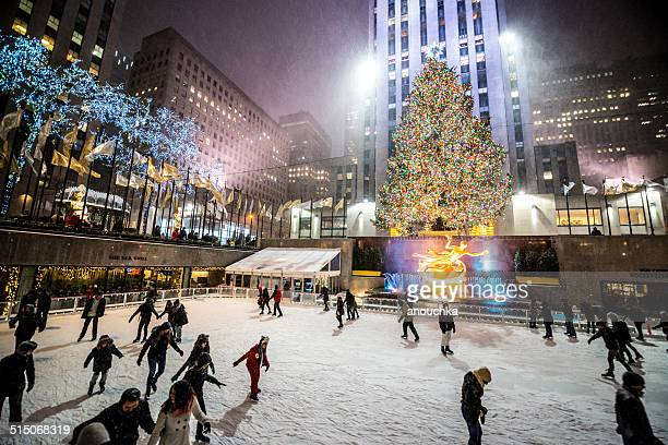 People ice-skating at Rockefeller Center, NYC