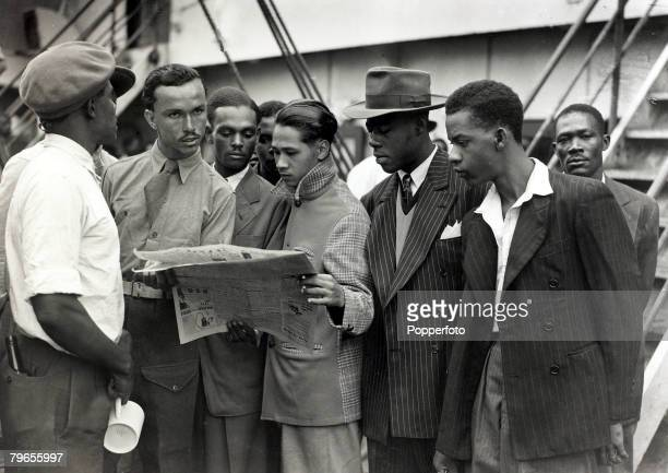 """People, Immigration, pic: 22nd June 1948, Some of the first Immigrants from the Caribbean island of Jamaica arrive at Tilbury, London, on board the """"..."""