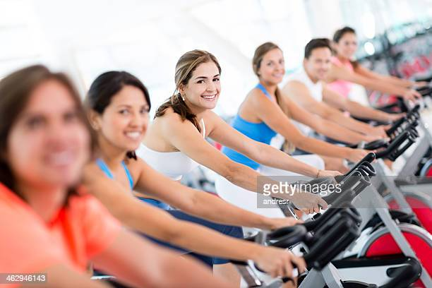 People in a spinning class