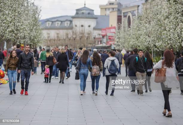 People in a pedestrian zone. Street scene in Pristina on March 30, 2017 in Pristina, Kosovo.