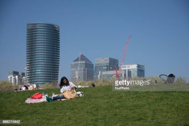 People in a sunny day at Greenwich Park in London UK on April 8 2017