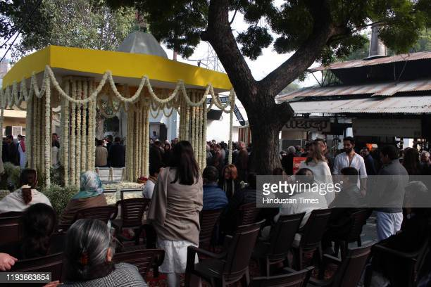 People in attendance at the funeral of Ritu Nanda at Lodhi Road Crematorium on January 14 2020 in New Delhi India Ritu Nanda late actor Raj Kapoor's...