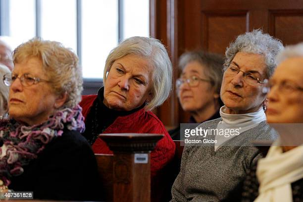 People in attendance listen to remarks by William J. Dailey, Jr., during a hearing for Roman Catholic Archbishop of Boston Vs. Rogers on March 20,...