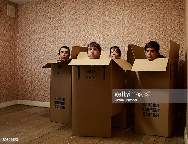 People in boxes