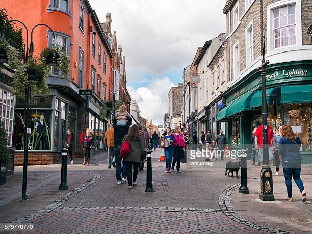 people in bury st edmunds town centre - suffolk england stock photos and pictures