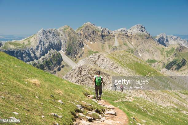 People in Castillo d' Acher - Pyrenees Mountains- Hecho Valey- Huesca Province- Spain