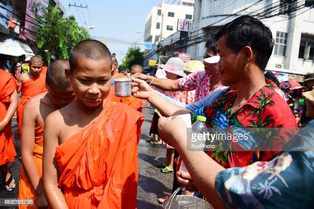 People in Chiang Mai Thailand are celebrating Songkran Water Festival to welcome their New Year 2560 by doing parade throwing water to each other...
