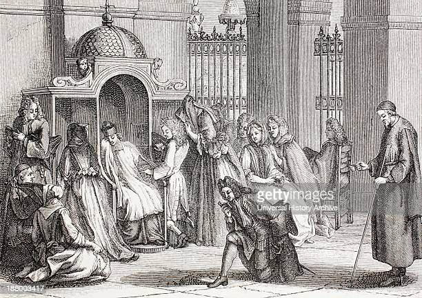 People In Church Gathered Around The Priest Waiting To Make Their Confession After A Work By Bernard Picart From Xviii Siecle Institutions Usages Et...