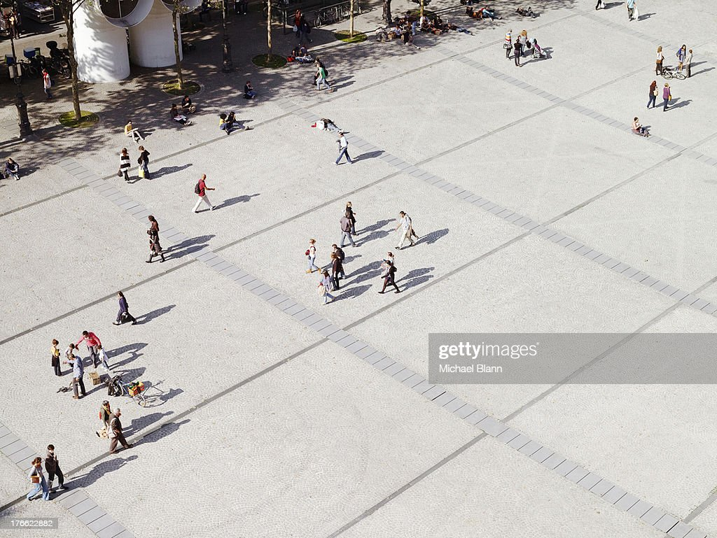 people in city from above, aerial : Stock Photo