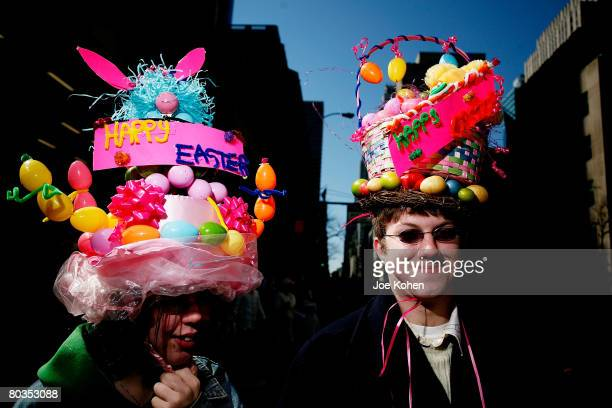 People in costume attend the 2008 Easter Parade on March 23 2008 on Fifth Avenue in New York City