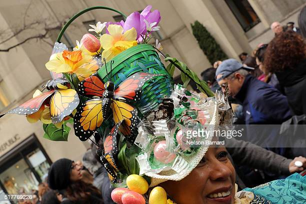 People in costume attend the 2016 New York City Easter Parade on March 27 2016 in New York City
