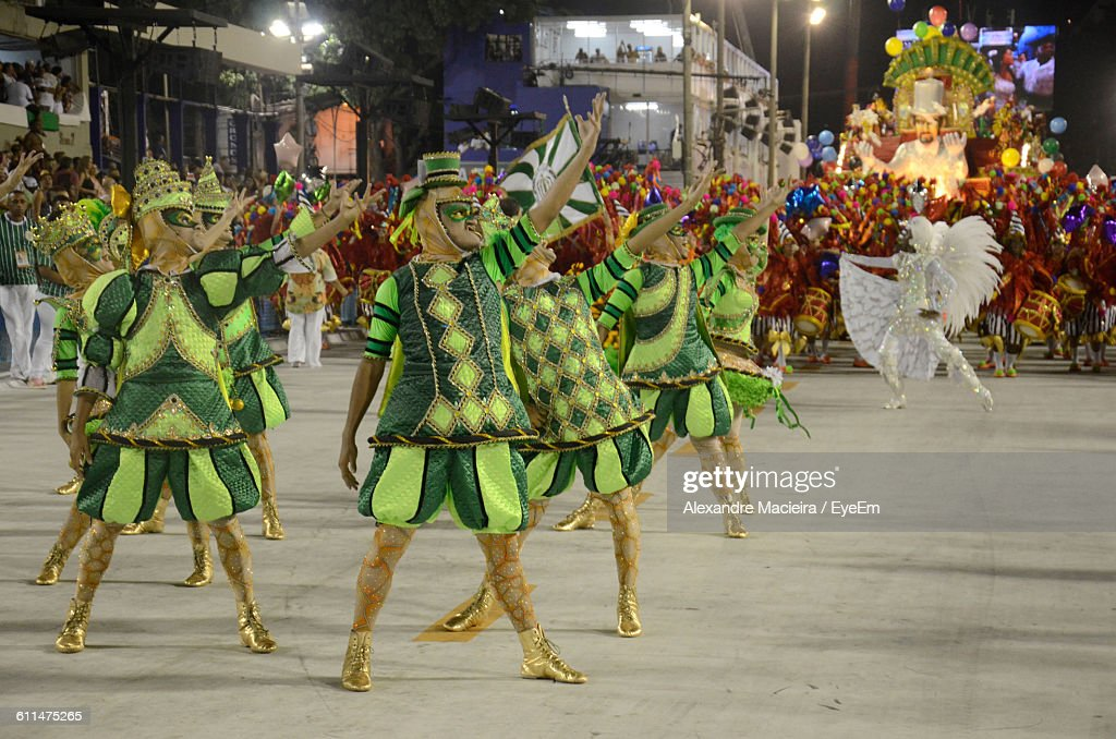 People In Costume Dancing At Carnival : Stock Photo