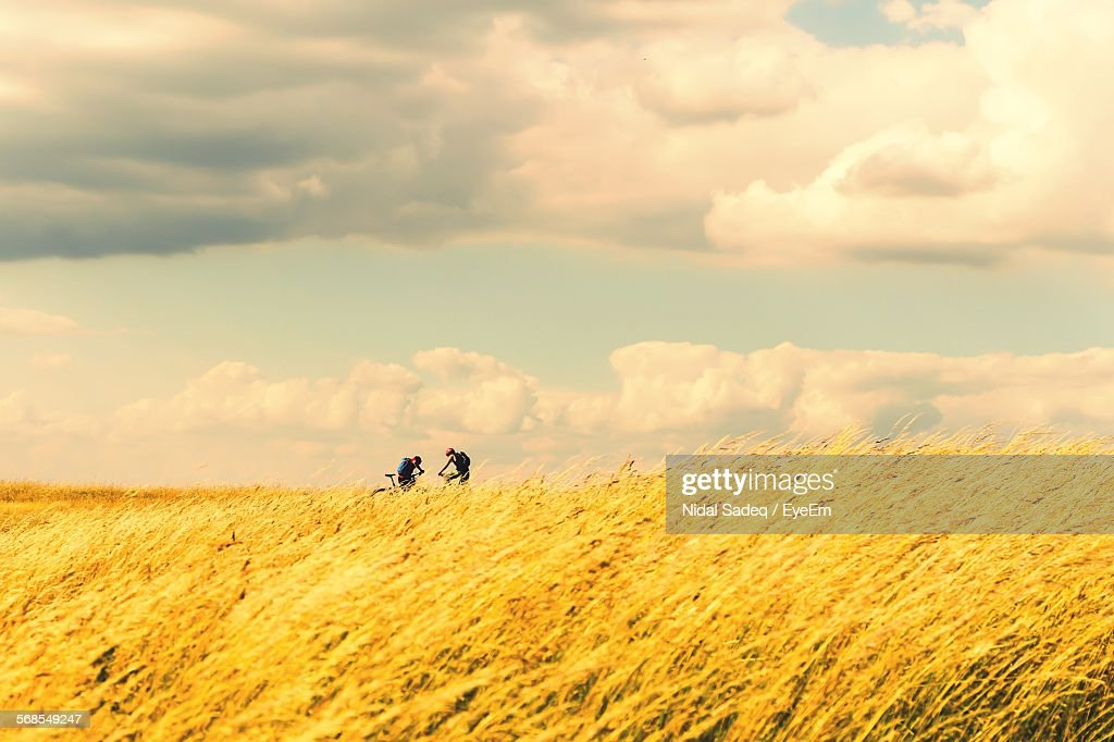 People In Farm Against Cloudy Sky : Stock Photo