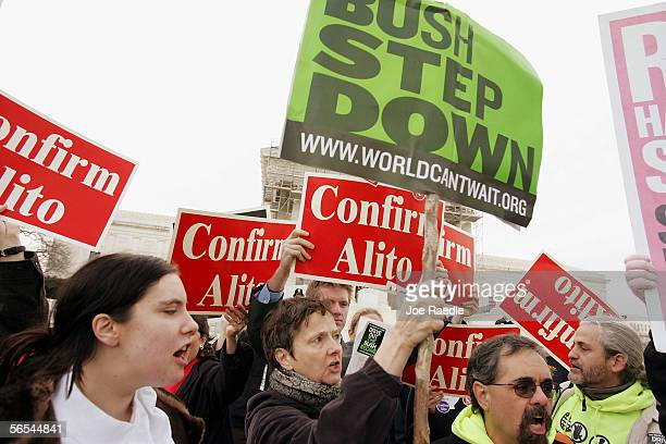 People in favor of Supreme Court nominee Samuel Alito and others against his confirmation hold a rally January 9 2006 in front of the Supreme Court...
