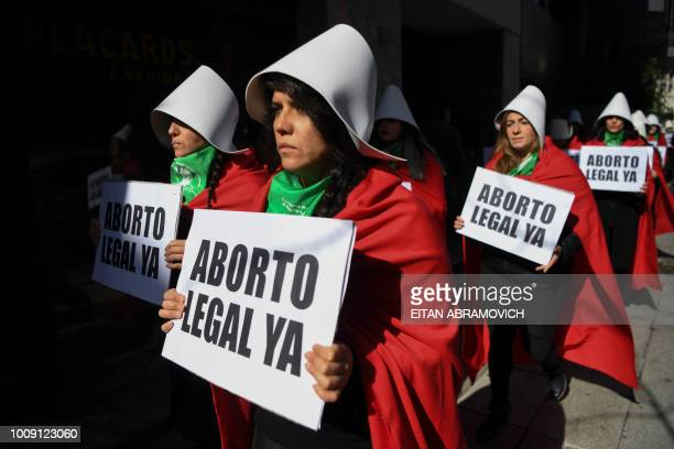 People in favour of the legalization of abortion demonstrate outside the National Congress in Buenos Aires on August 01 2018 Despite no consensus was...