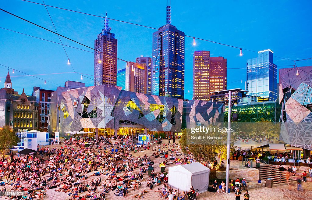 People in Federation Square, Melbourne. : Stock Photo