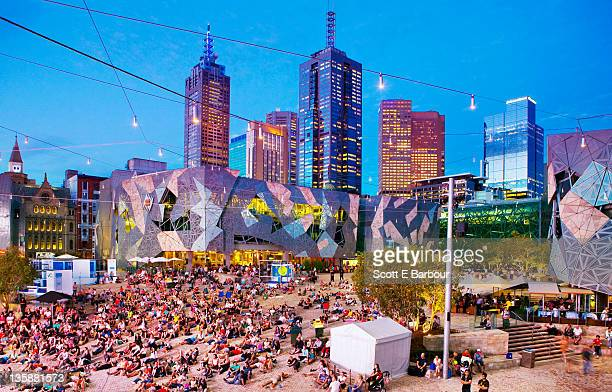 People in Federation Square, Melbourne.