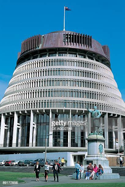 People in front of a government building Parliament Building Wellington New Zealand