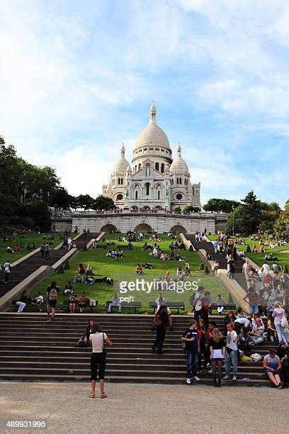 people in front of basilique du sacre coeur - pejft stock pictures, royalty-free photos & images