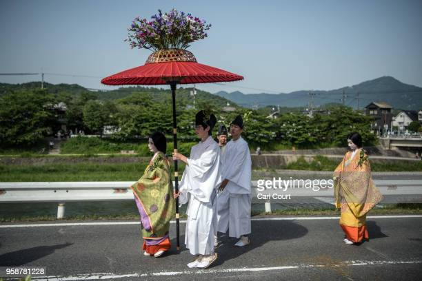 People in Heian period dress take part in the the Aoi Festival on May 15 2018 in Kyoto Japan Aoi Festival is one of the three main festivals of...