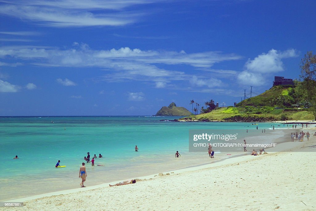 People in Kailua beach, Oahu, Hawaii, USA : Stock Photo