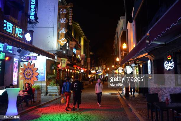 people in laowaitan nightlife area, ningbo, zhejiang province, china - ningbo stock pictures, royalty-free photos & images