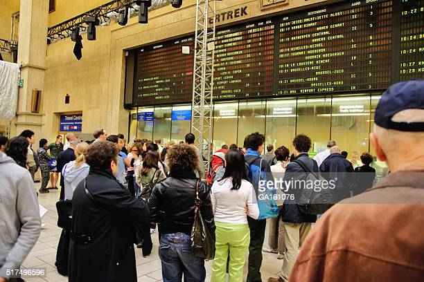People in line for purchase ickets at Brussels-Central railway station