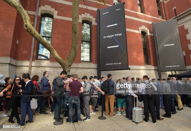 People in line to see Samsung unveil the Galaxy Note8 during Unpacked at Park Avenue Armory on August 23 2017 in New York City