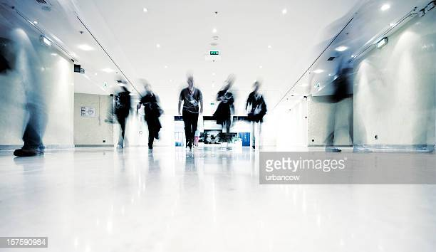 People in motion indoors
