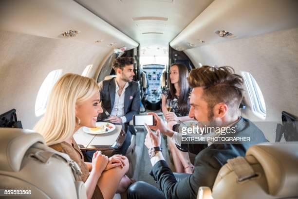 People in private jet airplane