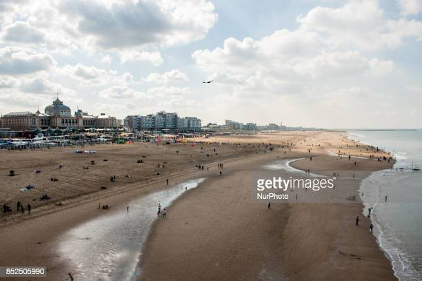 People in Scheveningen Netherlands on September 23 2017 Scheveningen is a part of The Hague and the most popular seaside town in The Netherlands...