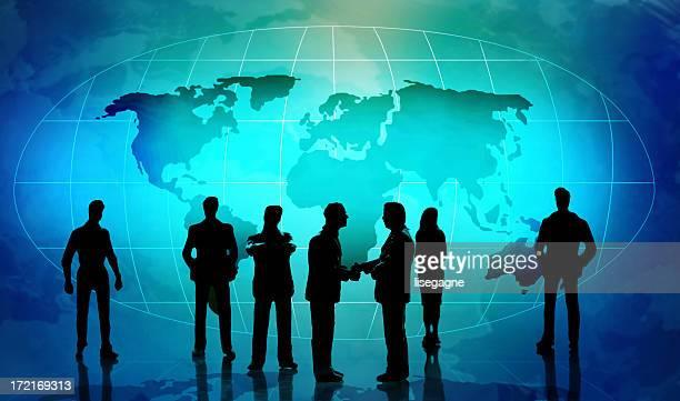 Personas en silueta contra azul mapa mundial