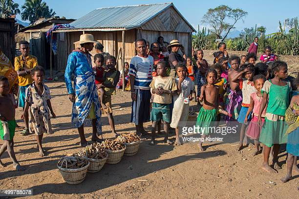 People in small village selling Tamarind seeds near Fort Dauphin in southern Madagascar