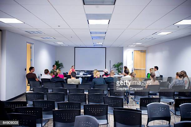 people in spare meeting/training room - sports training stock pictures, royalty-free photos & images