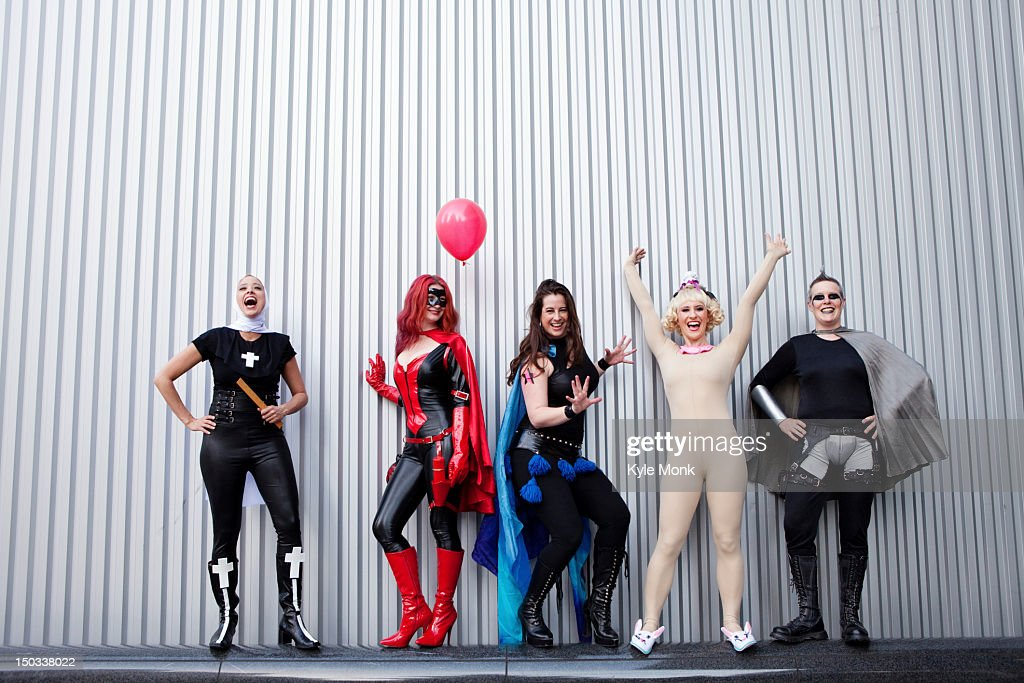 People in superhero costumes : Stock Photo