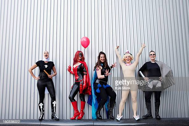 People in superhero costumes