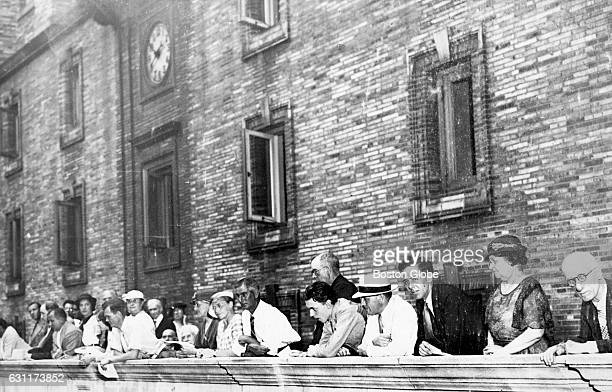 People in the gallery listen to a classical music concert at the Boston Public Library's courtyard in Boston's Copley Square on Aug 14 1935 It was...