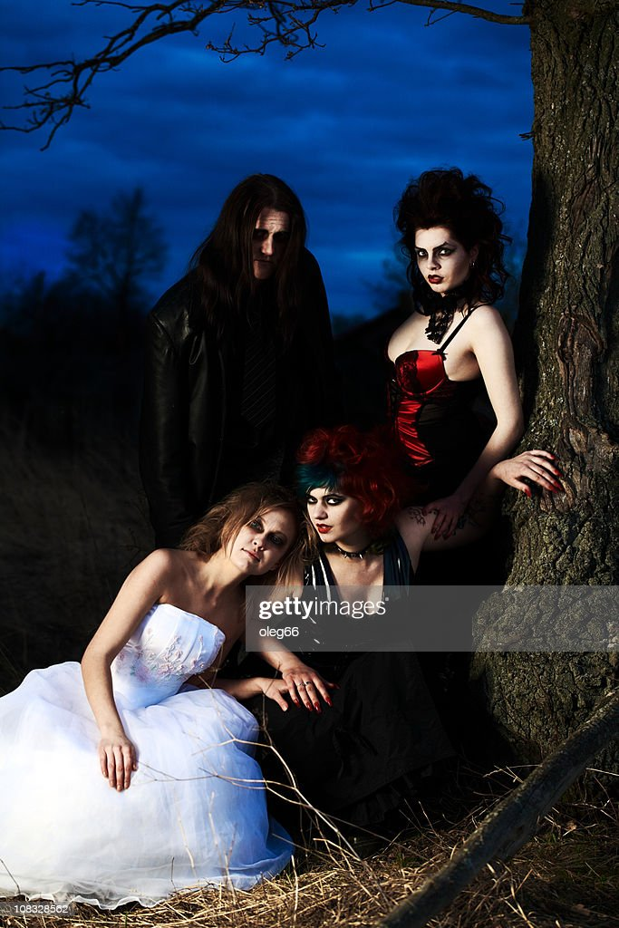 people in the guise of vampires : Stock Photo