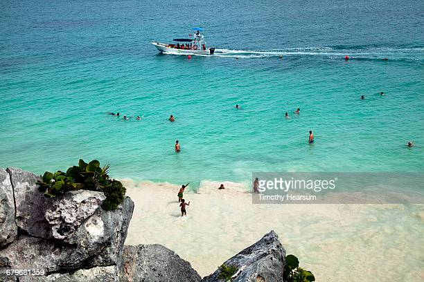 people in the ocean with sightseeing boat beyond - timothy hearsum photos et images de collection