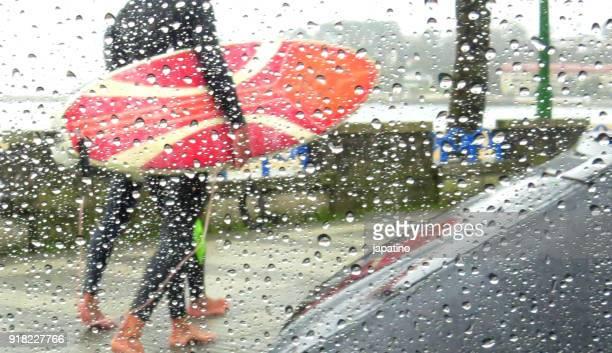 People in the rain