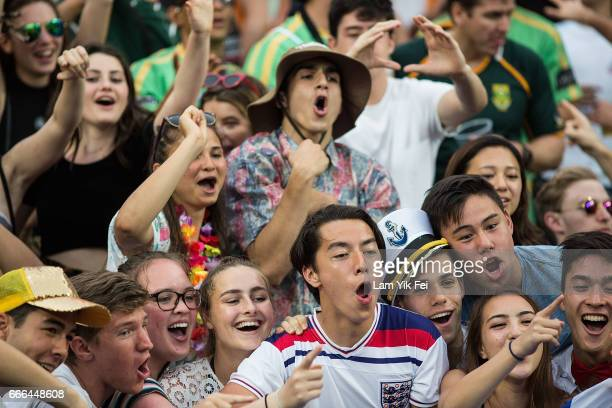People in the south stand during a match on the third day of the Hong Kong Rugby Sevens Tournament on April 9 2017 in Hong Kong Hong Kong The 2017...