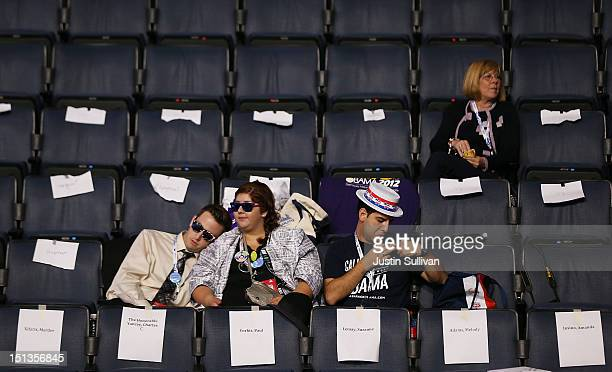 People in the stands wait for the start of the final day of the Democratic National Convention at Time Warner Cable Arena on September 6 2012 in...