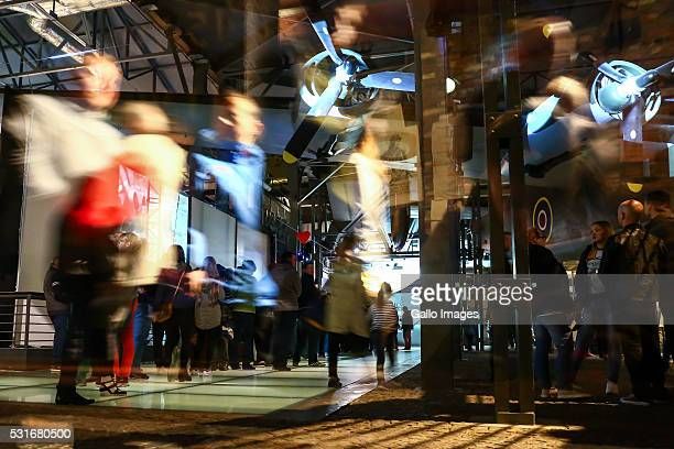 People in the Warsaw Uprising Museum during The Long Night of Museums on May 14 2016 in Warsaw Poland Long Night of Museums is an annual event where...