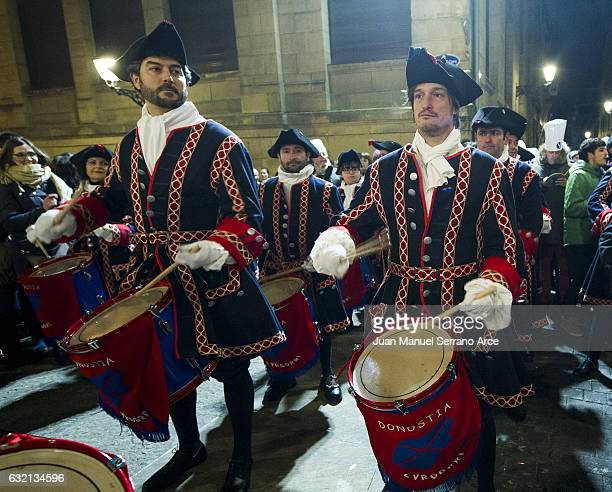 People in uniform take part in the 'Tamborrada' in the northern Spanish Basque city on January 20 2017 in San Sebastian Spain Tamborrada is a...
