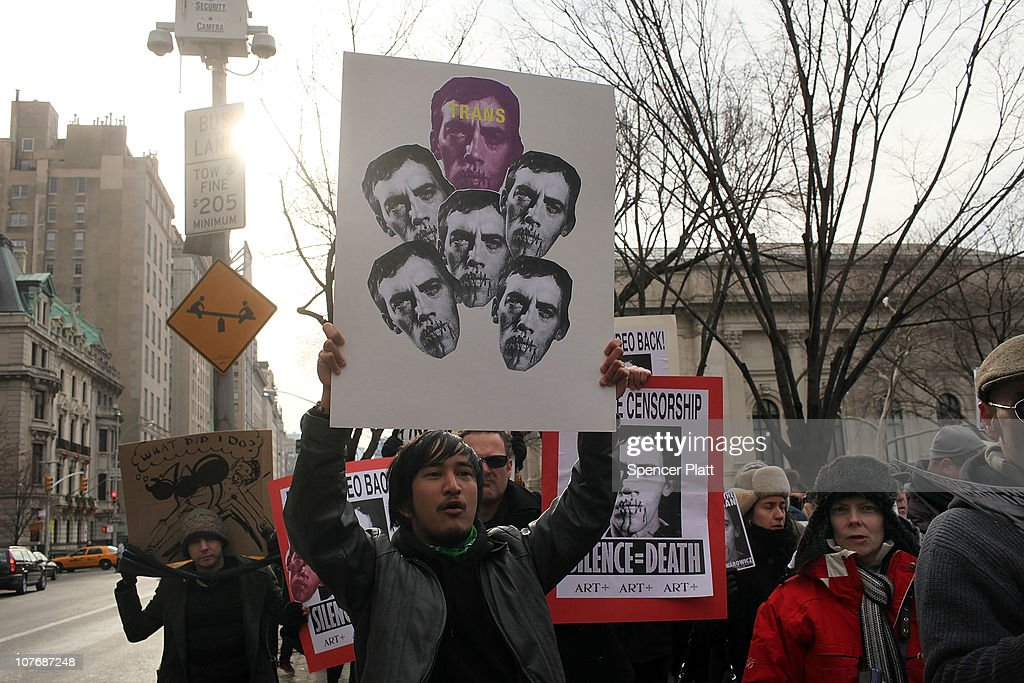 People including artists and free speech activists converge to support the work of the late multi-media artist David Wojnarowicz (pictured) in front of the Metropolitan Museum of Art on December 19, 2010 in New York City. Wojnarowicz`s four-minute video was part of the National Portrait Gallery's 'Hide/Seek' show until it was pulled after the Catholic League and members of Congress complained that the piece was sacrilegious due to a sequence showing ants crawling on a statue of Christ. The banning of the video, which led to its viewing at the New Museum in New York, has outraged artists and political activists who call the action censorship.