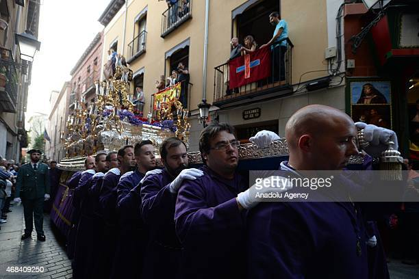 People including members Nazarene Sect attend a parade to mark the eve of Good Friday as part of Holy Week celebrations ahead to easter holiday at...