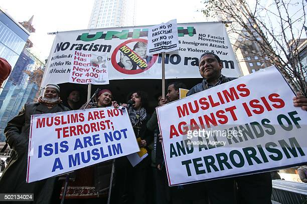 People including members of Muslim community and the others from varied religions and beliefs stage a protest against hate speech of US Republican...