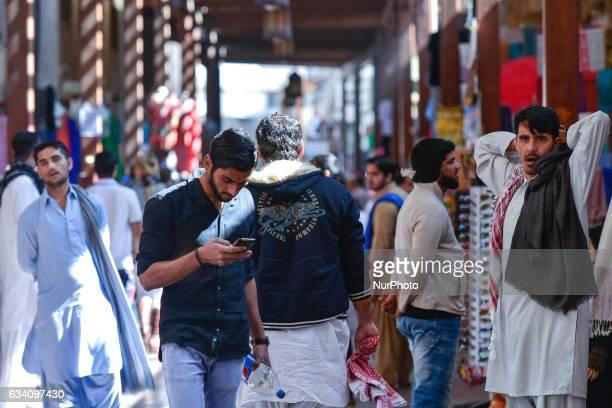 People inside a market in Dubai Old Town On Monday 6 February in Dubai UAE
