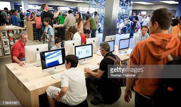 People inside an Apple Store