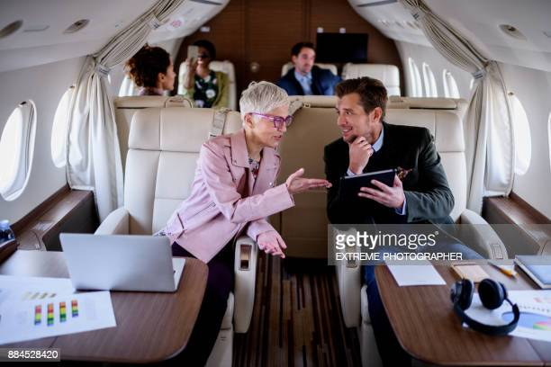 People inside private airplane